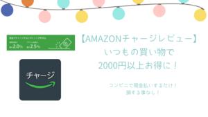【amazonチャージレビュー】いつもの買い物で2000円以上お得に!